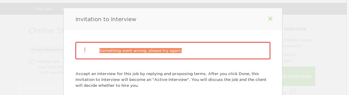 Cant accept invitation to interview and subm upwork community stopboris Choice Image