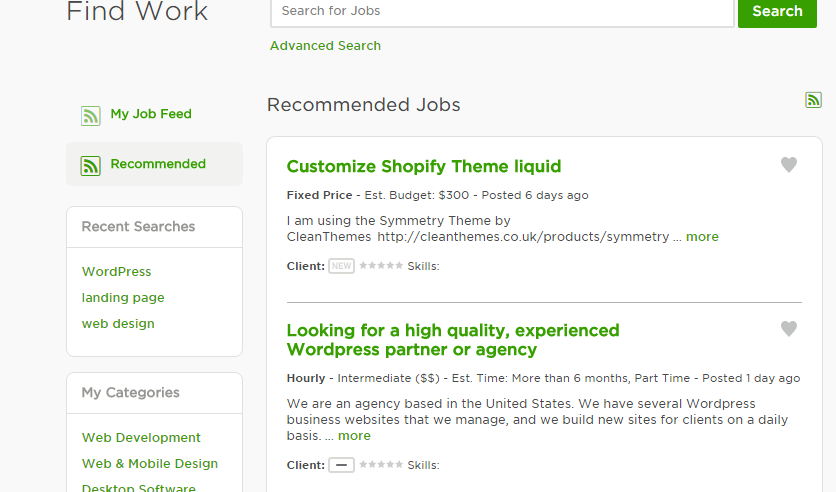 How to remove Recommended Jobs From front pag    - Upwork