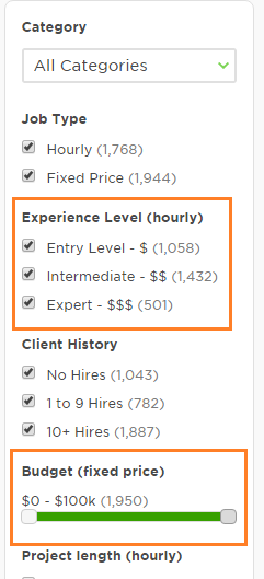 Search jobs by hourly pay