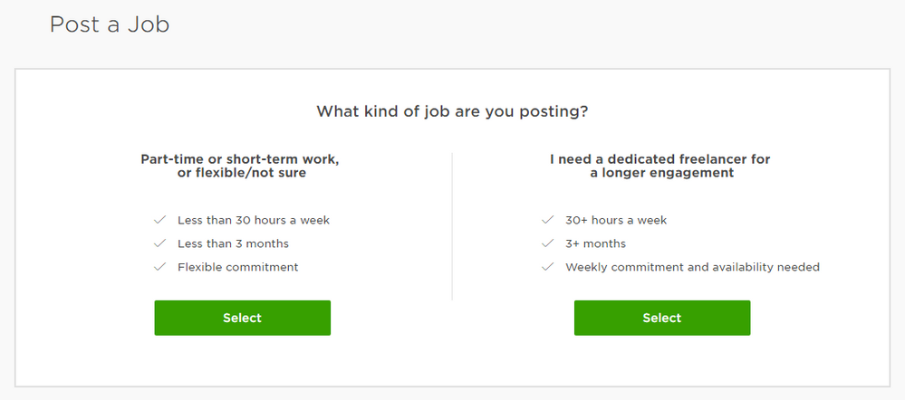 new job posting format upwork community