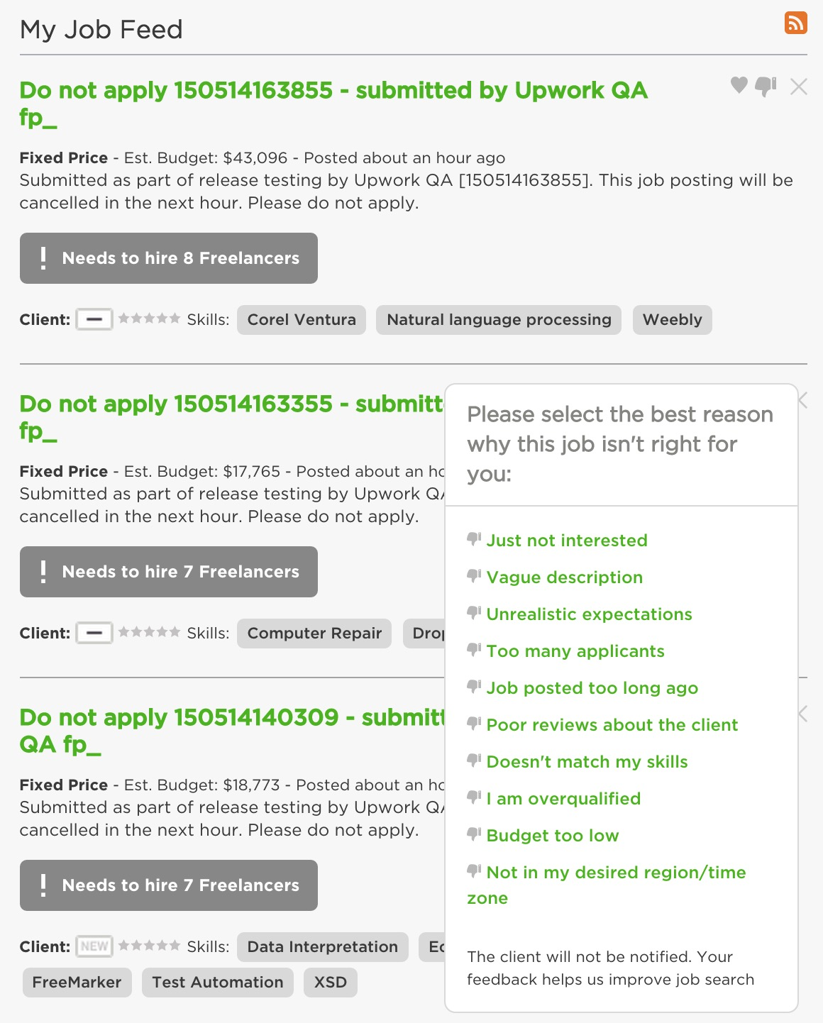 providing feedback on job listings page 2 upwork community