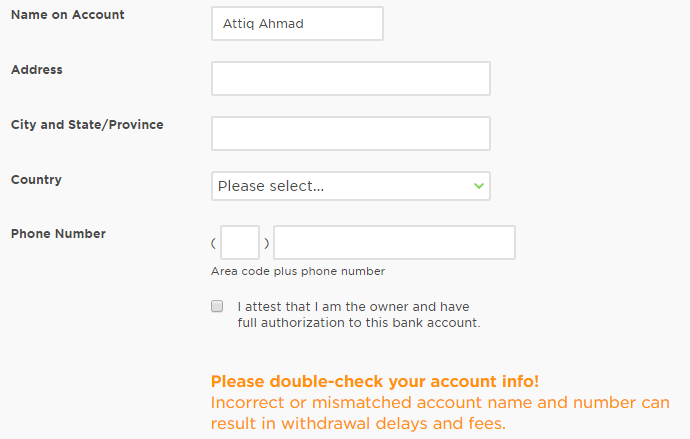 Solved: Which address should I enter in Bank Account