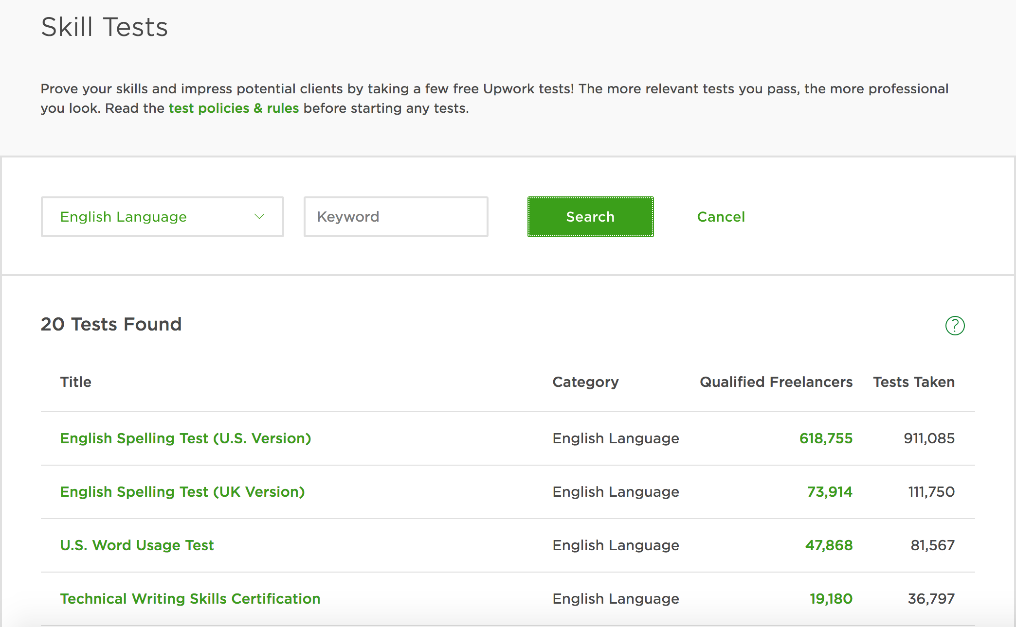 Solved: UK English Basic Skills test is not in the li... - Upwork ...