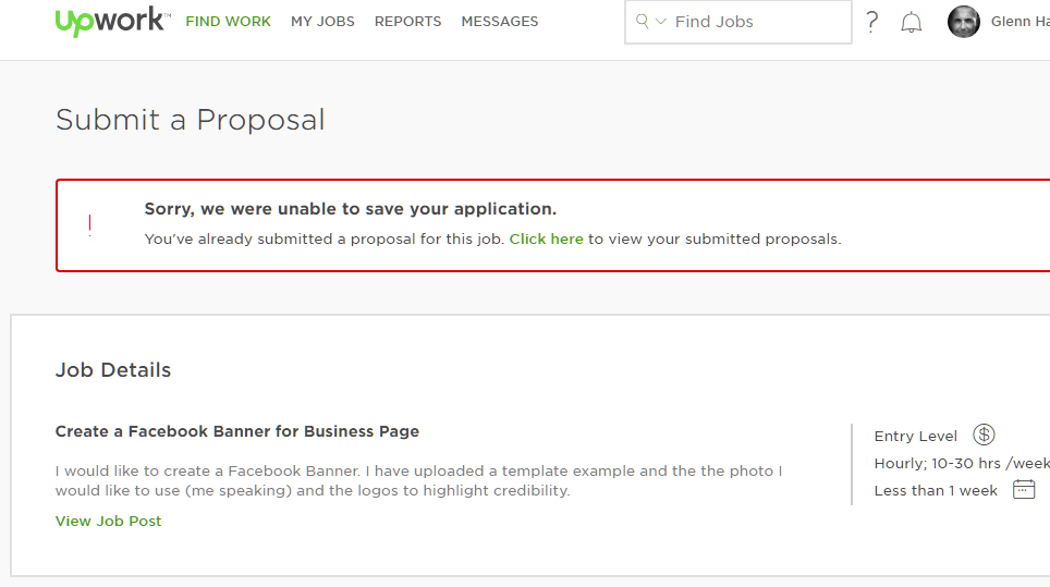 Youve Already Submitted A Proposal For This Upwork Community